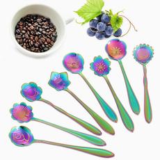 coffeespoon, Steel, Coffee, Flowers