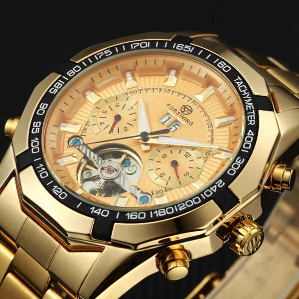 Steel, Men, Waterproof Watch, gold