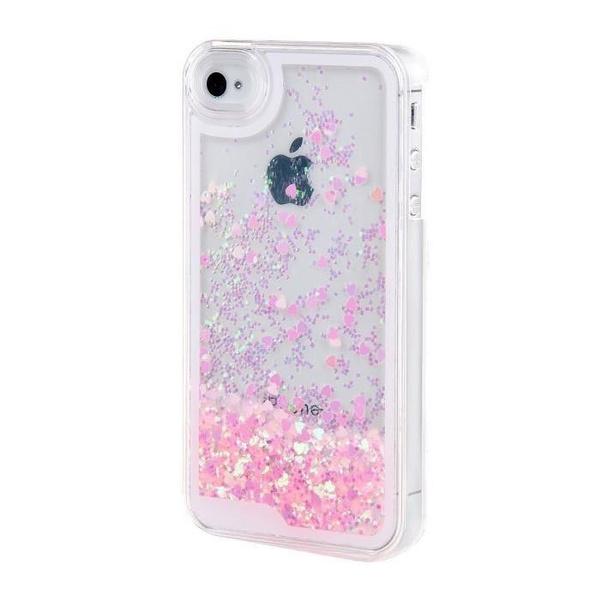 Coque liquide pour Apple Iphone 5 - Iphone 5S en Luxe Bling en Heart Shaped de couverture brillante Paillettes Protective - Rose | Wish