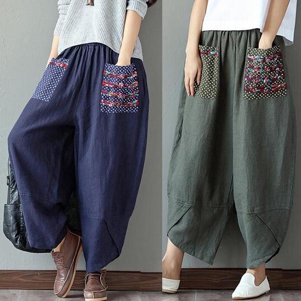 longtrouser, harem, Floral print, Casual pants