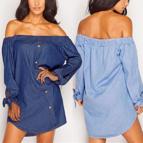 denim dress, Mini, Fashion, Shirt