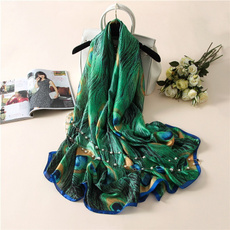 peacock, Polyester, women scarf, Fashion Accessories