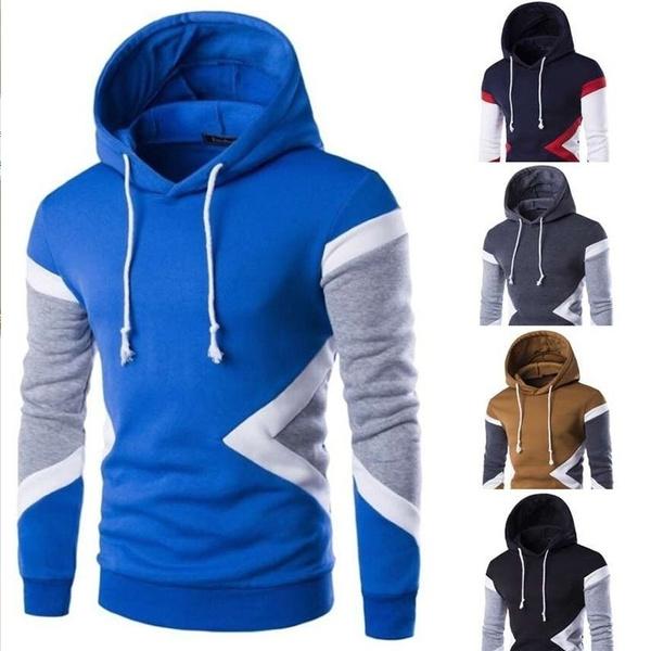 Hot Sale New Mens Fashion Sweatshirt Hit Color Men Hoodies Hip Hop Side  Zipper Men Sports Sweater | Wish
