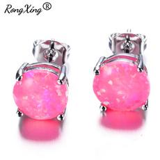 pink, Sterling, opalearring, Silver Earrings