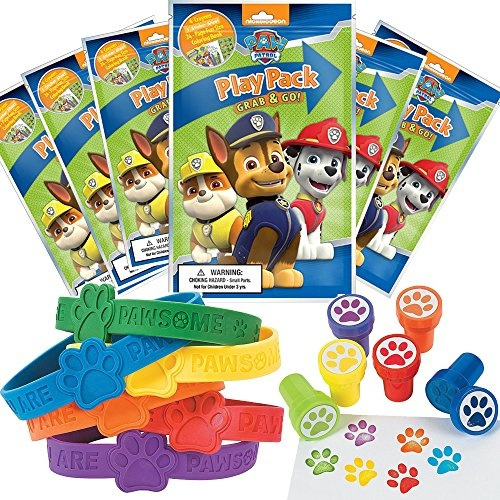 Paw Patrol Party Favor Set - 6 Grab & Go Coloring Book Play Packs, 12 Paw  Print Rubber Bracelets, 12 Paw Print Stampers Wish