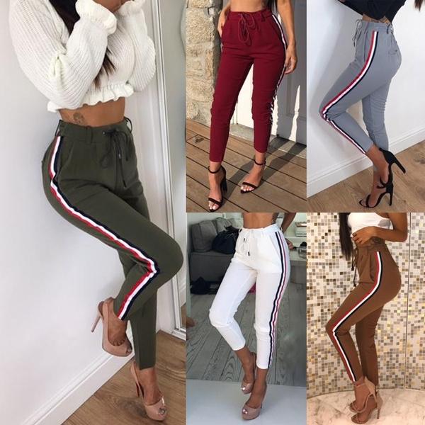 Women Pants, sportsampoutdoor, sexytrouser, high waist