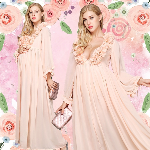 pink, gowns, Floral, chiffon