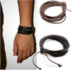 brown, leatherbraceletsformen, rope bracelet, Jewelry