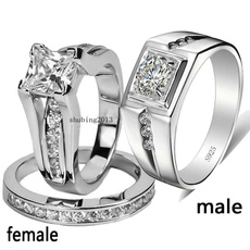 Couple Rings, Cubic Zirconia, wedding ring, gold