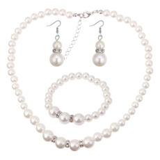 Chain Necklace, Bridal, Jewelry, Pearl Earrings