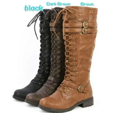 kneeboot, combat boots, Fashion, Leather Boots