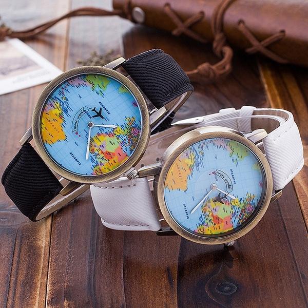 Watches, quartz, mapoftheworld, Denim