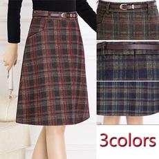 Fashion, high waist, A-line, woolenskirt