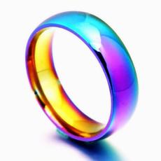Steel, size6to12weddingring, Girlfriend Gift, rainbow
