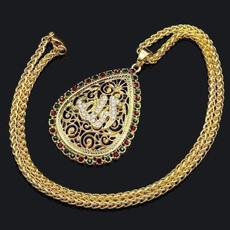 allahpendantnecklace, water, Chain Necklace, DIAMOND