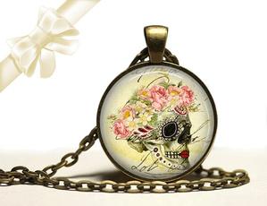 Brass, Jewelry, skull, Glass