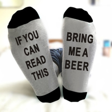 Cotton Socks, beersock, letter print, Socks