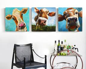 Head, art, canvaspainting, cow