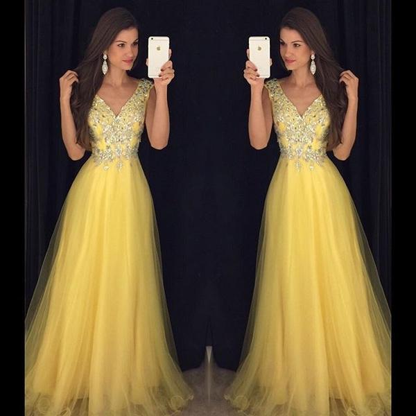 Evening Dress, Dress, Beading, V-neck