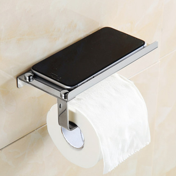 Edelstahl WC Papierhalter Toilettenpapierhalter Rollenhalter Silber