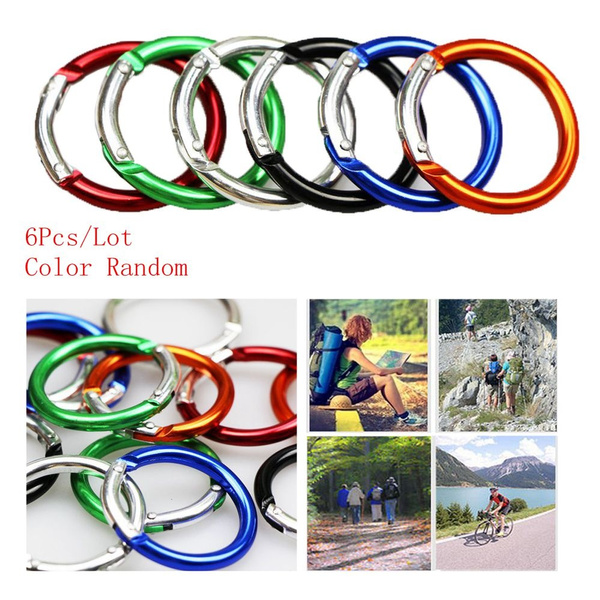 6pcs Round Carabiners Camping Spring Belt Clip Keychain Hiking Circle 38mm