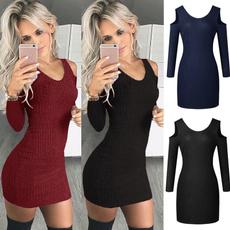 Mini, sweater dress, Sleeve, women dresses