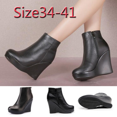 wedge, Leather Boots, Winter, anklebooot