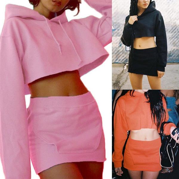 2pcs Women Hoodie Long Sleeve Sweater Crop Tops Pocket Pencil Skirt Dress Set Wish