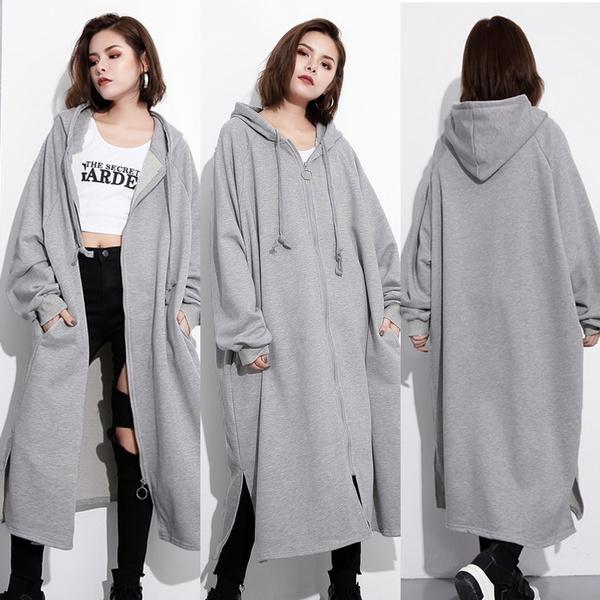 Plus Size, hoodedjacket, Dress, zipper hoodie