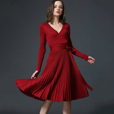 Fashion, pleated dress, fitslimdre, Long Sleeve