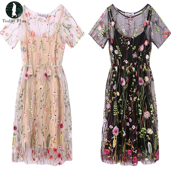 Summer, Plus Size, Floral print, Sleeve