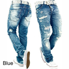 men's jeans, Fashion, straightjean, holedenimjean