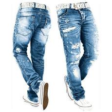 men's jeans, Moda, straightjean, holedenimjean