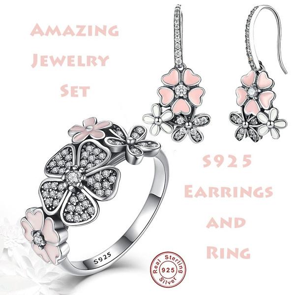 Sterling, DIAMOND, 925 sterling silver, cherryblossom