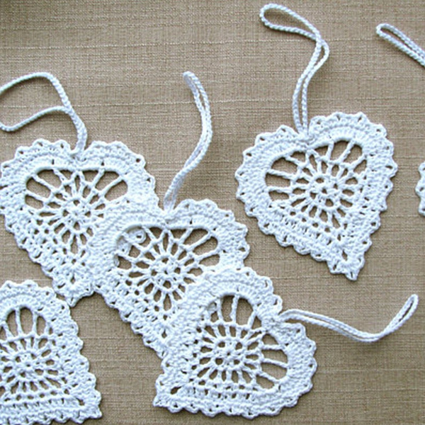 Heart, whiteheart, crochetapplique, Ornament
