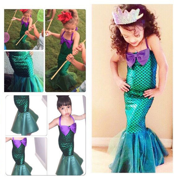 Dress, Halloween, kidarielchildlittlemermaidsetgirlprincessdres, Mermaid dress
