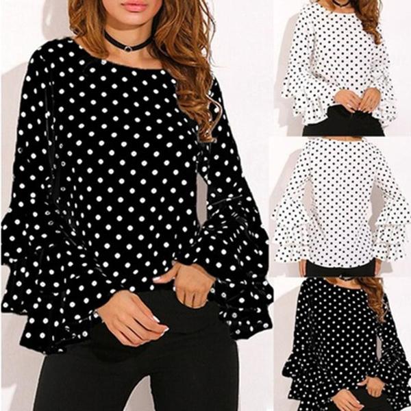 blouse, springandautumn, polkadotsshirt, Sleeve