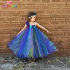 peacock, Flowers, flowergirldres, kidsdres