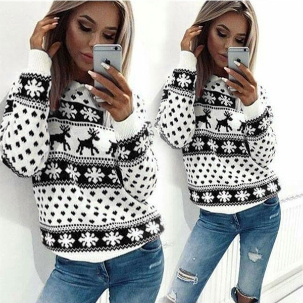 Fashion, Christmas, knittedpulloversweater, snowflakesweater