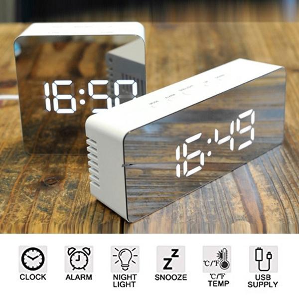 New Mirror Led Alarm Clock Night Lights Thermometer Digital Wall Clock Led Lamp New Wish