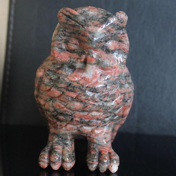 Owl, Figurine, carved, carvedrhodocrositeowlfigurine