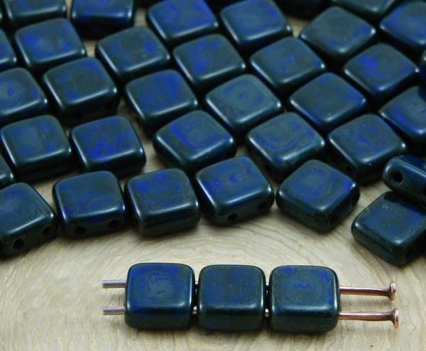 Blues, sizesofholesinbead, Blue Sapphire, czech2holetilebead