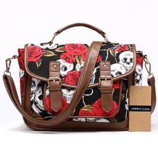women bags, women's shoulder bags, Satchel bag, skull