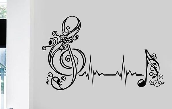 musicclassroomwallstickersdecoration, vinylwallartmusic, art, musicalnotesmusicwallartsticker