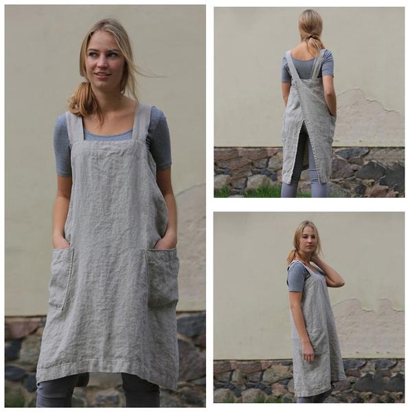 apron, tunic, linenapron, Tunic dress