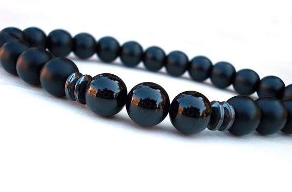 Beaded Bracelets, blacktournalinebeadedbracelet, Jewelry, meditationbracelet