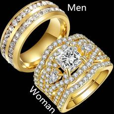 Couple Rings, Steel, Stainless Steel, Princess