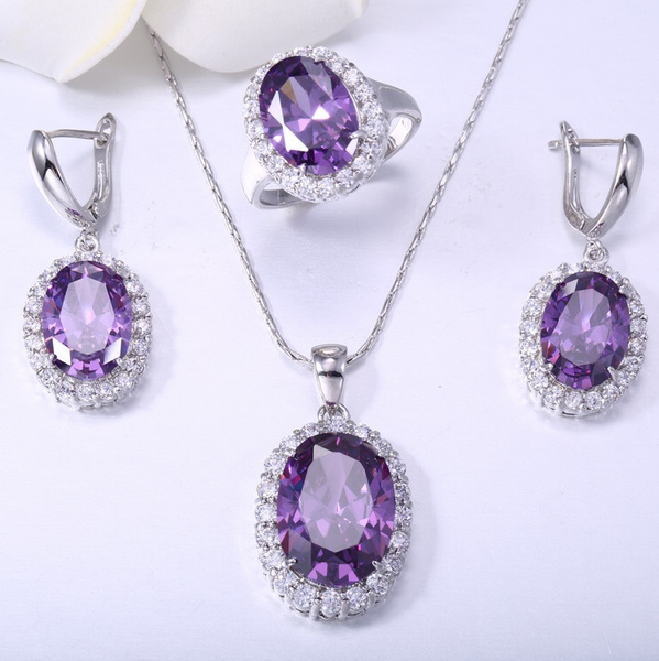 Amethyst Pendant Wedding Set Amethyst Earrings And Pendant Set Natural Amethyst 925 Sterling Silver Set Amethyst earrings