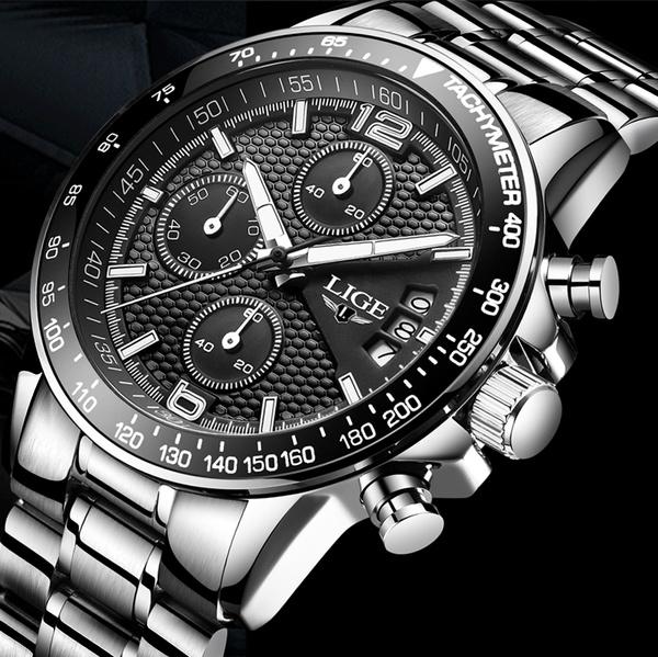 Steel, Stainless, quartz, chronographwatch