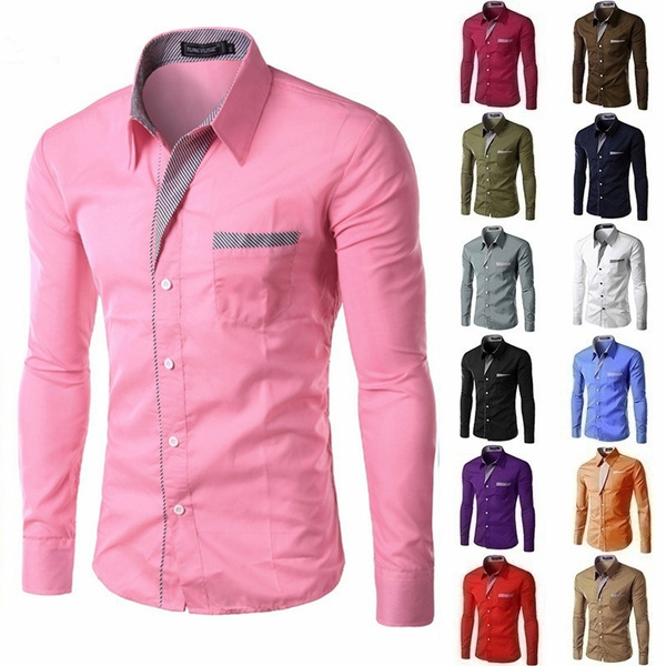 mencasualshirt, Slim Fit, Shirt, long sleeved shirt
